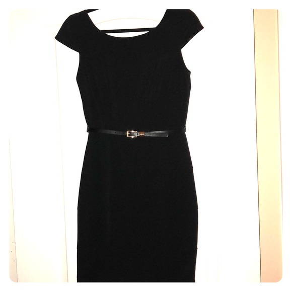 My Michelle Dresses Black Sheath Dress With Black Belt Great For